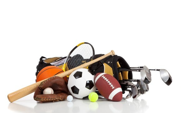 Pile of sporting goods equipment.