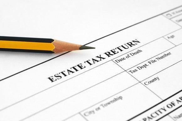 """part of a form titled """"estate tax return"""" with a pencil above it"""