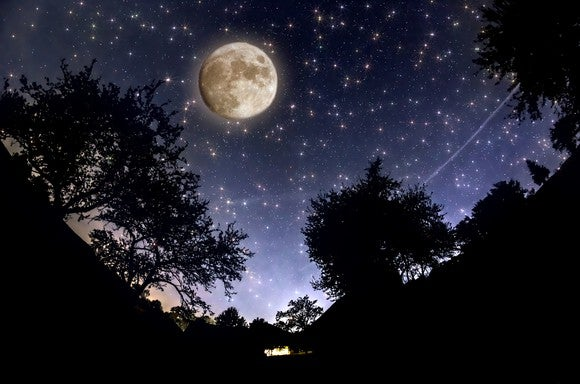 Full moon in a tree-lined night sky full of stars