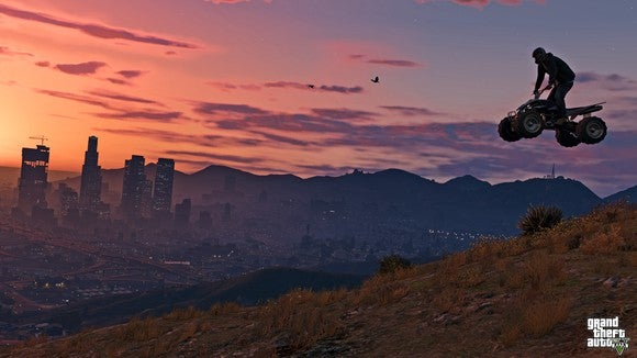 "Screenshot from ""Grand Theft Auto V"" featuring a character flying through the air on a four-wheeler at sunset."