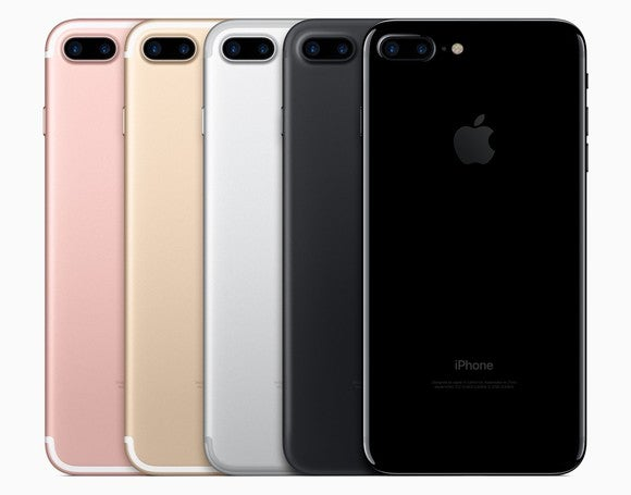 The iPhone 7 Plus in five different colors