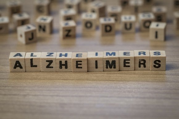 Alzheimers written on wooden cubes.
