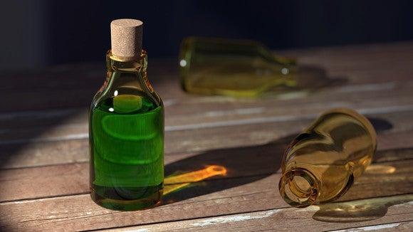 Bottle of green liquid