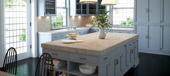 A kitchen with one of Caesarstone's countertops installed.