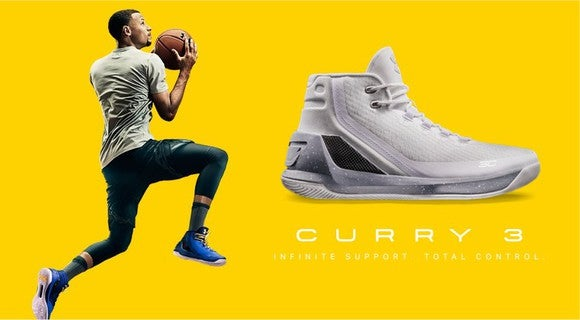 Under Armour's flagship Curry 3 shoes.