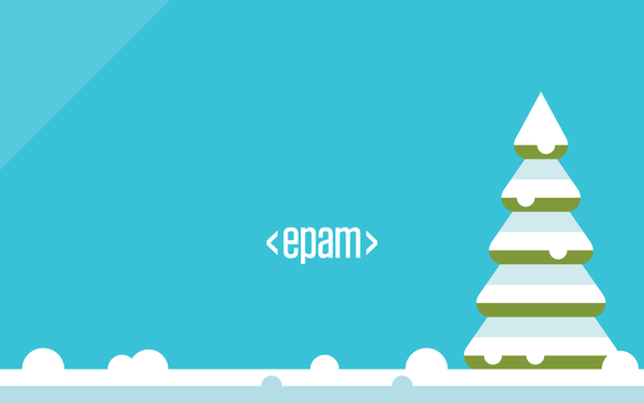 Holiday card format with EPAM corporate logo.