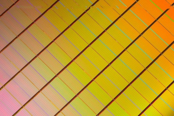 A wafer of Intel's 3D XPoint memory chips, a technology that the chipmaker hopes to deploy as both storage and memory.