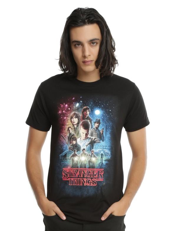 Man wearing Stranger Things t-shirt.
