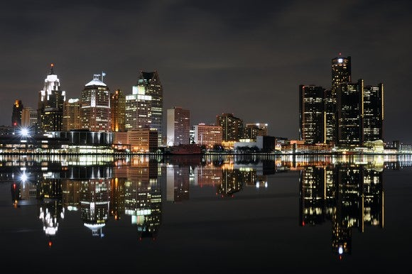Detroit skyline at night, showing the GM building