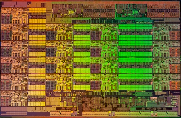 A die shot of Intel's 22-nanometer Haswell-EP server processor, which has 18 cores embedded on a single piece of silicon.