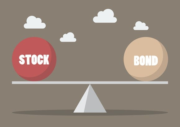 Illustration of a scale where one side is stocks and the other side is bonds.