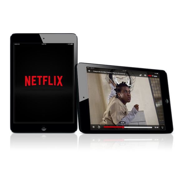 Netflix apps on 2 tablet screens.