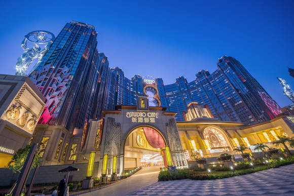 Image of the entrance to Studio City in Macau.