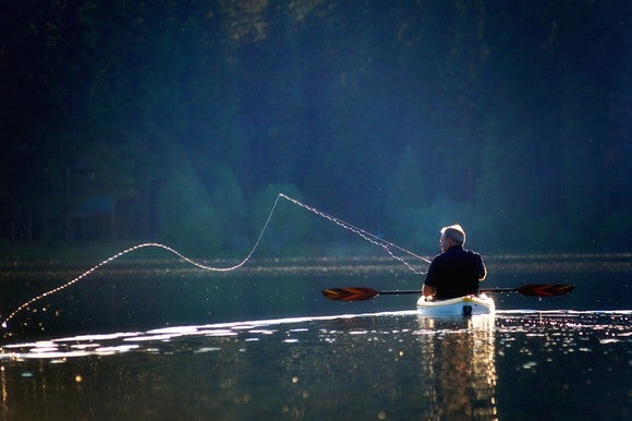Man fishing in boat.