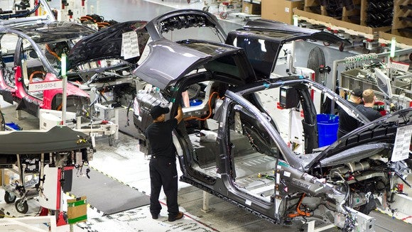 Model X on Tesla's general assembly line in its factory.
