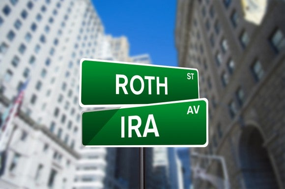 Street signs at intersection - one says Roth one says IRA