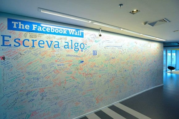 "The ""Facebook Wall"" at its office in Sao Paulo, Brazil."