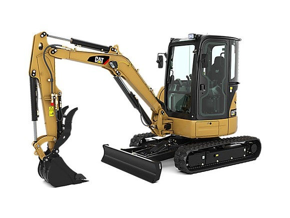 A Caterpillar mini excavator