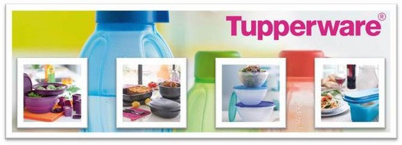 Various colorful Tupperware products.