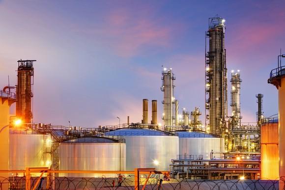 Oil refinery under twilight