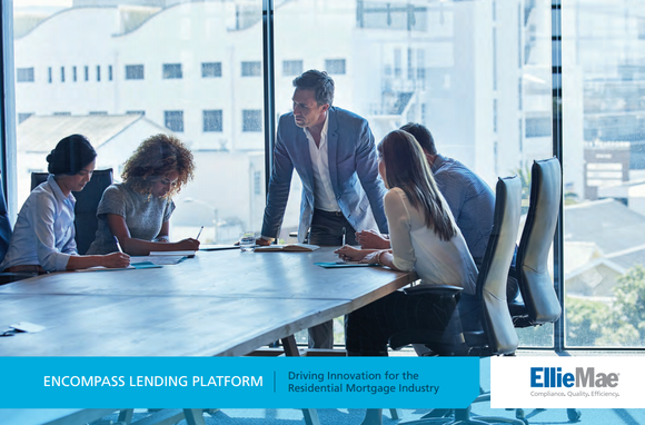 Mortgage brokers around a table discuss Ellie Mae's Encompass lending platform.