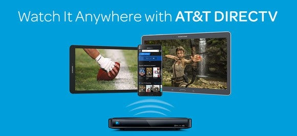 An ad for AT&T's DirecTV platform being viewed across multiple devices.