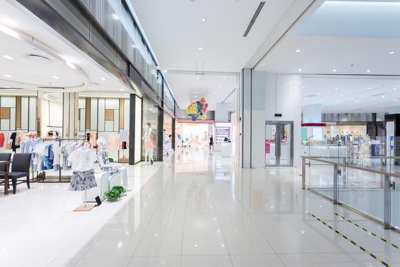 An empty mall corridor.