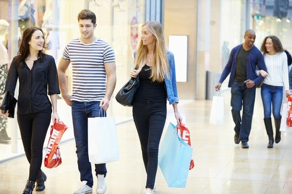 Friends shopping at a mall.