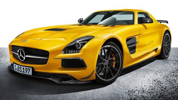 Yellow Mercedes-Benz SLS AMG supercar