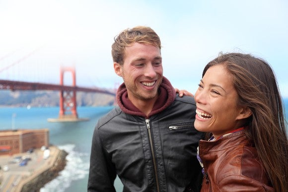 Young couple exploring San Francisco
