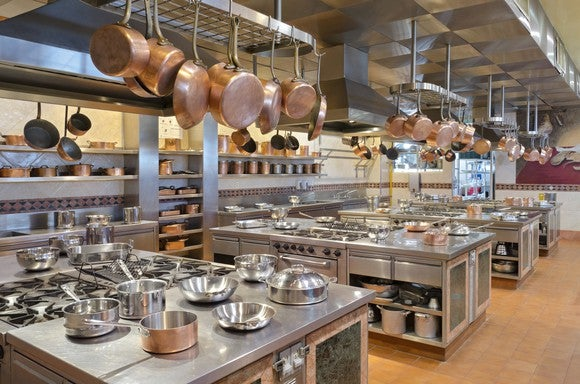 Kitchen with extensive tools and equipment.