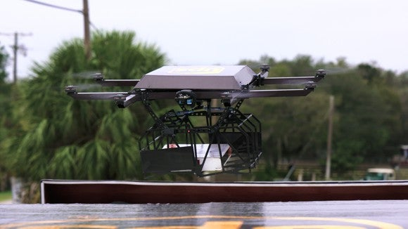 A UPS drone in flight