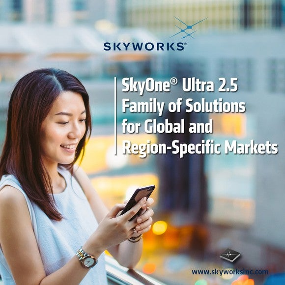 A Skyworks ad with a woman checking her phone