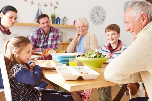 Multigenerational family eating