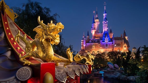 The iconic dragon and palace at Shanghai Disneyland.
