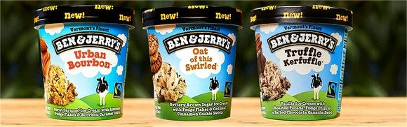 Three flavors of Unilever's Ben & Jerry's ice cream.
