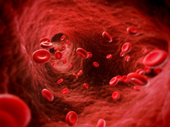Blood cells traveling through an artery
