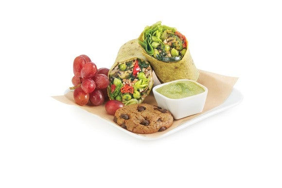 Delta's Mediterranean veggie wrap meal option