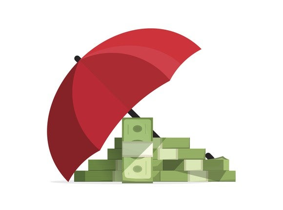 Money under an umbrella