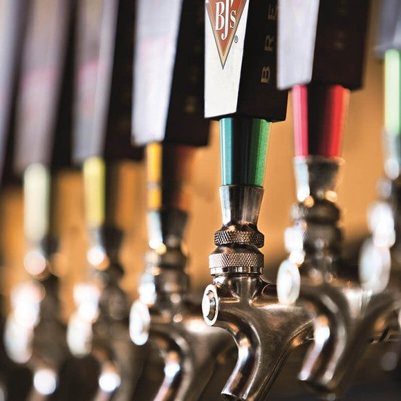 Beer taps at a BJ's Restaurant.