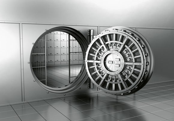 An open bank vault.