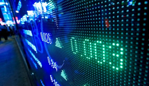 Rising prices on a stock market ticker screen