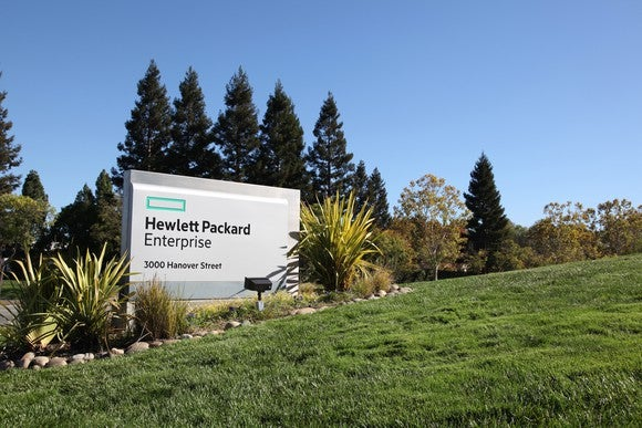 The HP Enterprise sign in front of the company's headquarters.