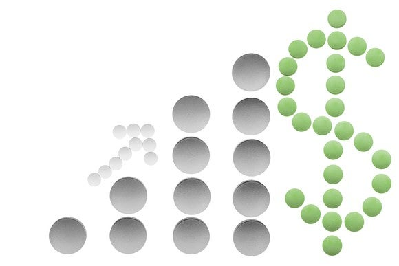 Pills laid out to form a dollar sign and a graph that represents increasing sales.