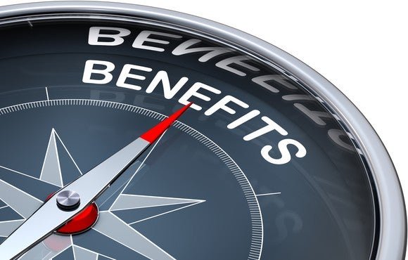 "Compass pointing toward the word ""Benefits"""