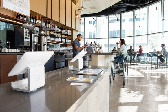 Restaurant with Square point-of-sale terminals