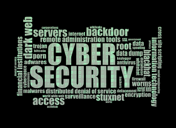 Word collage with Cyber Security as the centerpiece.