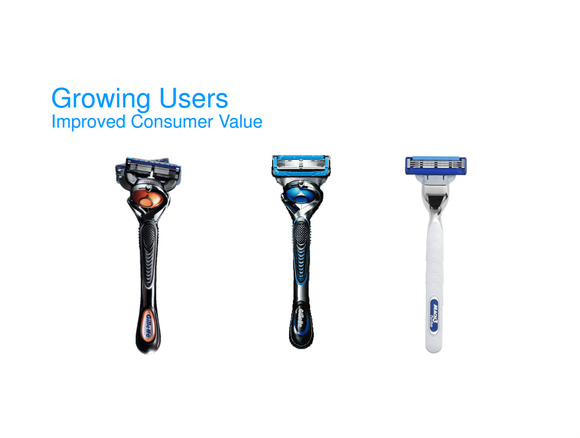 Three Gillette razor options that range from value to premium prices.