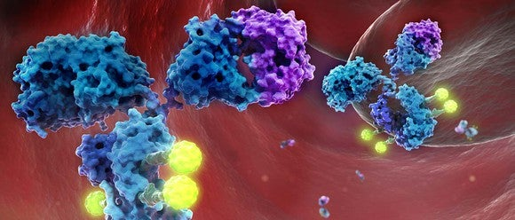 Artist's rendering of glembatumumab vedotin (glemba), an antibody drug conjugate owned by Celldex Therapeutics