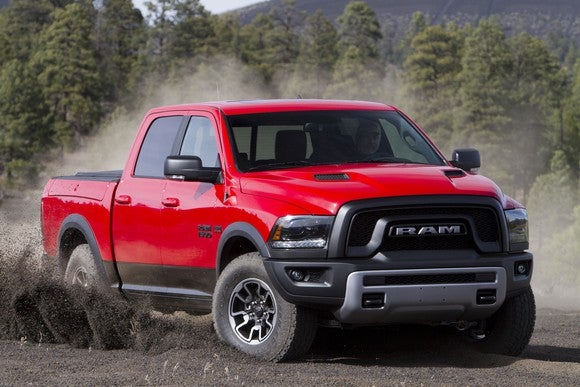 A red Ram 1500 pickup on a dirt road.